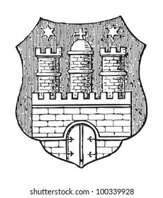 Hamburg coat of arms (city in Germany) / vintage illustration from Meyers Konversations-Lexikon 1897