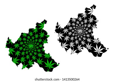 Hamburg (Federal Republic of Germany, State of Germany) map is designed cannabis leaf green and black, Free and Hanseatic City of Hamburg map made of marijuana (marihuana,THC) foliage,