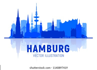 Hamburg Germany city skyline silhouette vector illustration on white background. Business travel and tourism concept with modern buildings. Image for presentation, banner, web site.