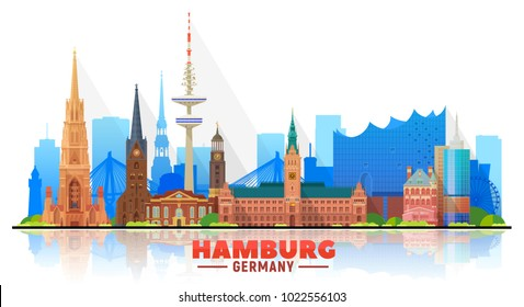 Hamburg Germany city skyline vector illustration on white background. Business travel and tourism concept with modern buildings. Image for presentation, banner, web site.