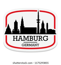 Hamburg Germany Label Stamp Icon Skyline City Design Tourism