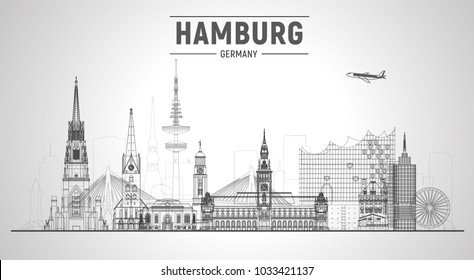 Hamburg Germany line skyline vector illustration on white background. Business travel and tourism concept with modern buildings. Image for presentation, banner, web site.