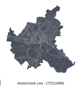 Hamburg map. Detailed vector map of Hamburg city administrative area. Dark poster with streets on white background.