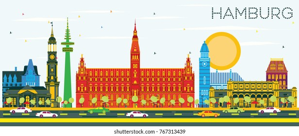 Hamburg Skyline with Color Buildings and Blue Sky. Vector Illustration. Business Travel and Tourism Concept with Historic Architecture. Hamburg Cityscape with Landmarks.