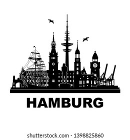 Hamburg skyline - Germany city silhouette vector illustration black with white backgrund. Sights, travel, city tour. Graphic image for tourism concept, presentation, website, banner