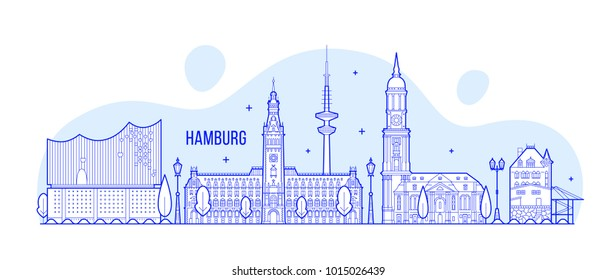 Hamburg skyline, Germany. This illustration represents the city with its most notable buildings. Vector is fully editable, every object is holistic and movable