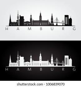Hamburg skyline and landmarks silhouette, black and white design, vector illustration.