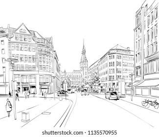 Hamburg Town Hall. Germany. Hand drawn sketch. Vector illustration.
