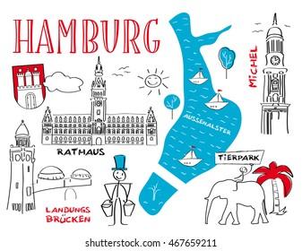 Hamburg the town's landmarks - vector illustration