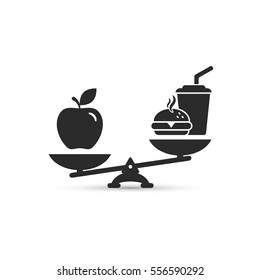 Hamburger and apple on scales. Balance between fast and healthy food. Diet, nutrition, fitness and health concept. vector illustration.