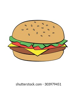 Hamburger Burger Cheeseburger Cartoon Art Vector Sketch