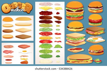 Hamburger, Burgers Design Creation Kit. Vector Fast Food Ingredients Clip Art