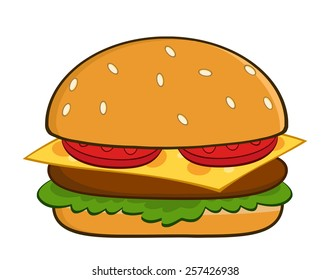 Hamburger Cartoon Vector Illustration Isolated On White