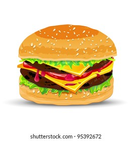 Hamburger with cheese. Vector illustration.
