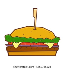 hamburger, cheeseburger, fast food, vector illustration