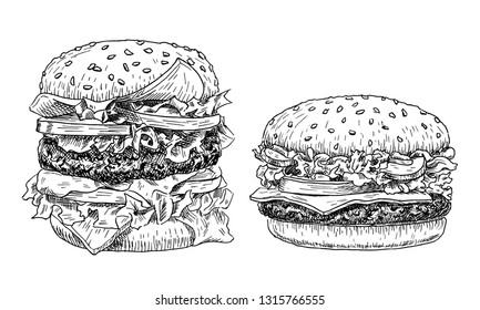 Hamburger and cheeseburger hand drawn vector illustration. Fast food engraved style. Burgers sketch isolated on white background.