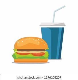 Hamburger and a coke soda pop cheeseburger. Fast food on white. Vector