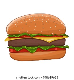 Hamburger. Colored drawing. Vector illustration isolated on white background