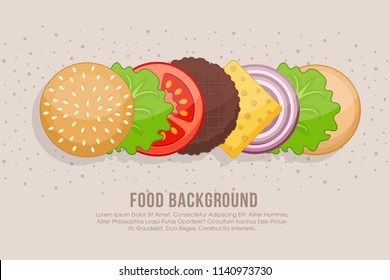 Hamburger cooking. Set of ingredients for burger . Sliced veggies, bun, cutlet, sauce. Vector illustration cartoon flat icon collection isolated on white.