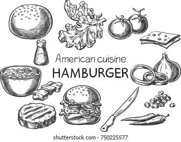 Hamburger. Creative conceptual vector. Sketch hand drawn American food recipe illustration, engraving, ink, line art, vector.