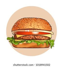 Hamburger. Fast food. Engraving vintage style. Classic Cheeseburger. Vector. Illustration
