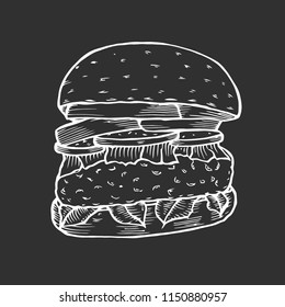 Hamburger. Fast food. Engraving vintage style. Classic Cheeseburger. Isolated on black background. Vector illustration.