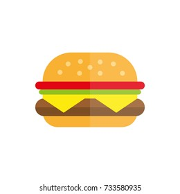 hamburger fast food icon flat burger flat vector illustration food and drink tasty burger summer picnic menu hamburger McDonald fast food restaurant cafe menu cheeseburger