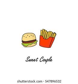 Hamburger and french fries hand drawn sketch illustration