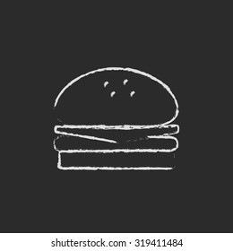 Hamburger hand drawn in chalk on a blackboard vector white icon isolated on a black background.