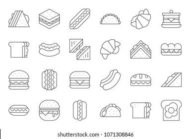 Hamburger, Hotdog, club sandwich, Mexican taco, egg, ham, salad sandwich, croissant, outline icon