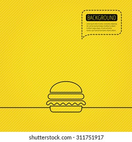 Hamburger icon. Fast food sign. Burger symbol. Speech bubble of dotted line.