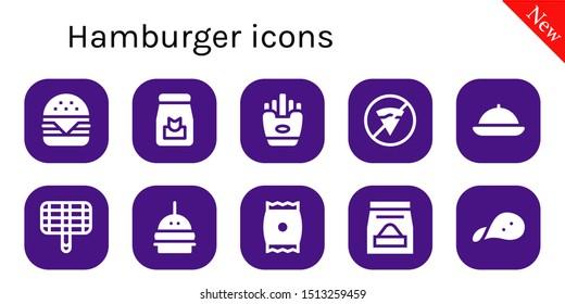 hamburger icon set. 10 filled hamburger icons.  Simple modern icons about  - Hamburger, Food, Fries, No fast food, Grill, Burger, Snack