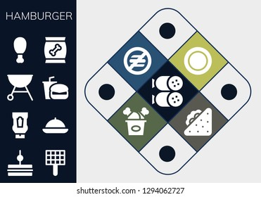 hamburger icon set. 13 filled hamburger icons. Simple modern icons about  - Salami, Sandwich, Grill, Ketchup, Food, Fast food, Fried chicken, Dish, No food