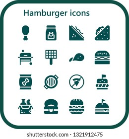 hamburger icon set. 16 filled hamburger icons.  Simple modern icons about  - Fried chicken, Food, Sandwich, Grill, Snack, Burger, No fast food