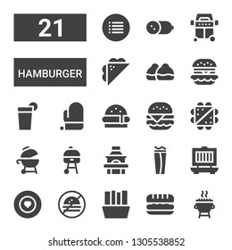 hamburger icon set. Collection of 21 filled hamburger icons included Grill, Sandwich, Fries, No fast food, Food, Wrap, Burger, Mitt, Beverage, Hamburguer, Bun, Cold meat, Menu