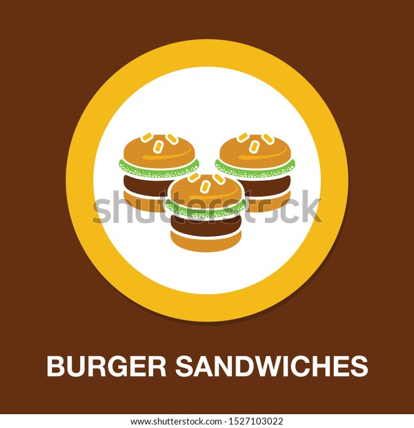 Hamburger icon - vector fast food sign symbol, vector food meal - burger sandwiches