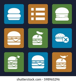 hamburger icons set. Set of 9 hamburger filled icons such as no fast food, double burger with flag, burger with pepper, burger with sausage