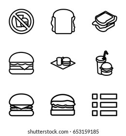 Hamburger icons set. set of 9 hamburger outline icons such as sandwich, cheeseburger, soda and burger, burger and drink, burger, no fast food