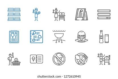hamburger icons set. Collection of hamburger with grill, food, no food, menu, bbq, beverage, burger, burguer, dishes. Editable and scalable hamburger icons.