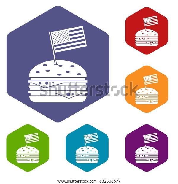 Hamburger icons set hexagon isolated vector illustration