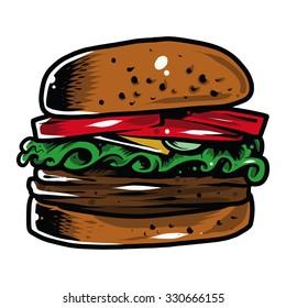Hamburger illustration cartoon bold and cute, junk food, food and beverage, burger