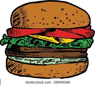 Hamburger illustration cartoon hand drawn ink and pen, junk food, food and beverage, burger