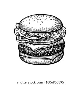 Hamburger. Ink sketch isolated on white background. Hand drawn vector illustration. Retro style.