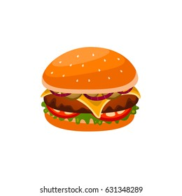Hamburger with meat, onion, tomato, cucumber and greens in vector