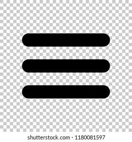 Hamburger menu. Web icon. On transparent background.