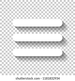 Hamburger menu. Web icon. White icon with shadow on transparent background