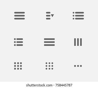 Hamburger mobile buttons. Ui menu icons