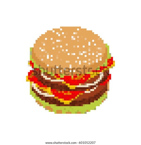Image Vectorielle De Stock De Hamburger Art Au Pixel Près