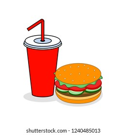 Hamburger and Soda isolated on background. Burger with meat and cheese, salad and cola. Fastfood, Junk fat meal. American street food. Vector flat illustration.