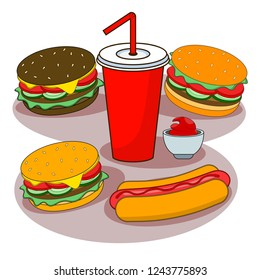 Hamburger and Soda isolated on background. Burger with meat and cheese, salad and hot dog. Fastfood, Junk fat meal. American street food. Vector flat illustration.
